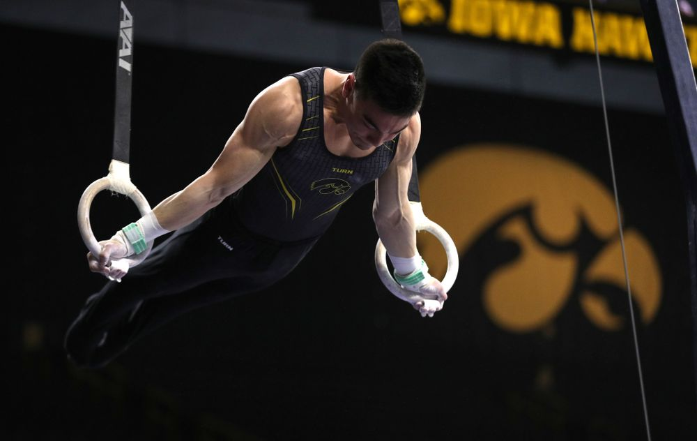 Iowa's Brandon Wong competes on the rings against Oklahoma Saturday, February 9, 2019 at Carver-Hawkeye Arena. (Brian Ray/hawkeyesports.com)