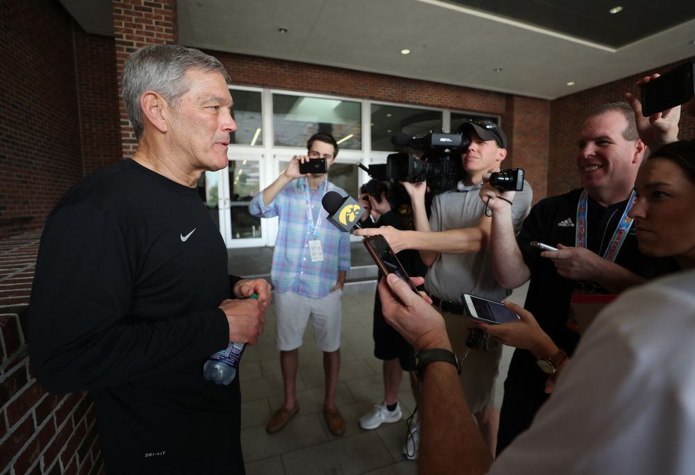Iowa Hawkeyes head coach Kirk Ferentz during the team's first Outback Bowl Practice in Florida Thursday, December 27, 2018 at Tampa University. (Brian Ray/hawkeyesports.com)