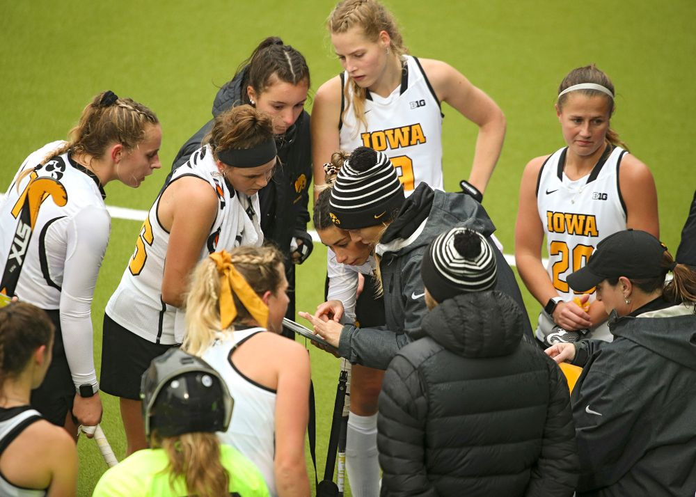 Iowa assistant coach Roz Ellis talks with Ciara Smith (17) during the third quarter of their NCAA Tournament First Round match against Duke at Karen Shelton Stadium in Chapel Hill, N.C. on Friday, Nov 15, 2019. (Stephen Mally/hawkeyesports.com)