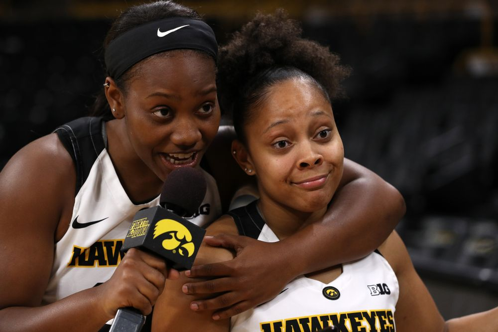 Iowa Hawkeyes guard Zion Sanders (24) and guard Tania Davis (11) during the team's annual media day Wednesday, October 31, 2018 at Carver-Hawkeye Arena. (Brian Ray/hawkeyesports.com)