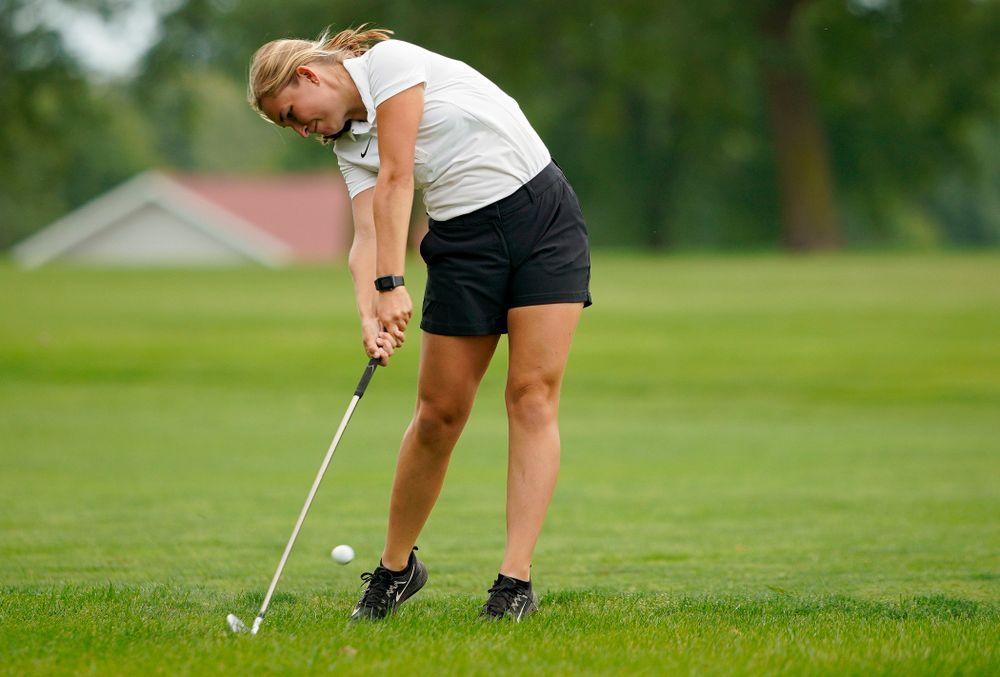 Iowa's Stephanie Herzog drives a shot during their dual against Northern Iowa at Pheasant Ridge Golf Course in Cedar Falls on Monday, Sep 2, 2019. (Stephen Mally/hawkeyesports.com)