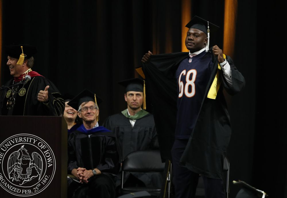 Hawkeye FootballÕs James Daniels during the College of Liberal Arts and Sciences spring commencement Saturday, May 11, 2019 at Carver-Hawkeye Arena. (Brian Ray/hawkeyesports.com)