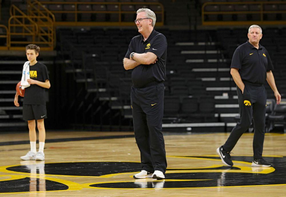 Iowa Hawkeyes head coach Fran McCaffery looks on during practice at Carver-Hawkeye Arena in Iowa City on Wednesday, Oct 9, 2019. (Stephen Mally/hawkeyesports.com)