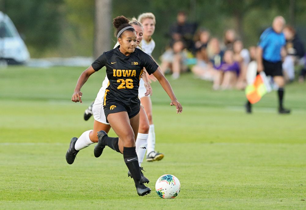 Iowa midfielder/forward Melina Hegelheimer (26) looks to pass during the first half of their match against Western Michigan at the Iowa Soccer Complex in Iowa City on Thursday, Aug 22, 2019. (Stephen Mally/hawkeyesports.com)