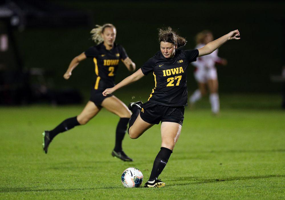 Iowa Hawkeyes forward Samantha Tawharu (27) against the Nebraska Cornhuskers Thursday, October 3, 2019 at the Iowa Soccer Complex. (Brian Ray/hawkeyesports.com)