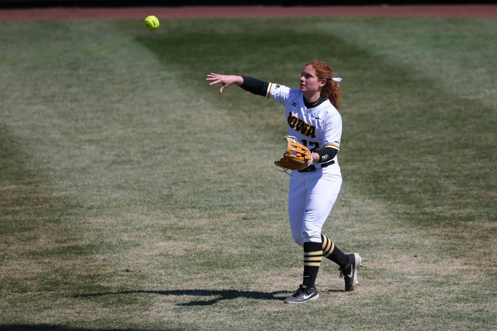 Iowa's Kate Claypool (12) at game 3 vs Northwestern on Sunday, March 31, 2019 at Bob Pearl Field. (Lily Smith/hawkeyesports.com)