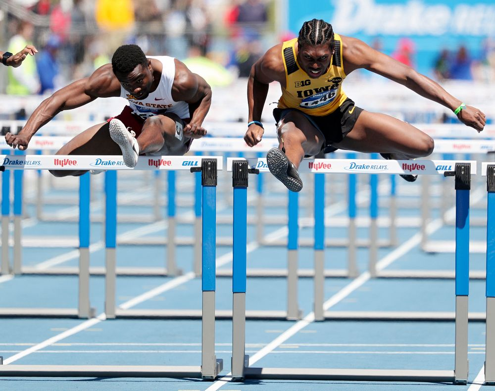 Iowa's Anthony Williams runs the men's 110 meter hurdles event during the second day of the Drake Relays at Drake Stadium in Des Moines on Friday, Apr. 26, 2019. (Stephen Mally/hawkeyesports.com)