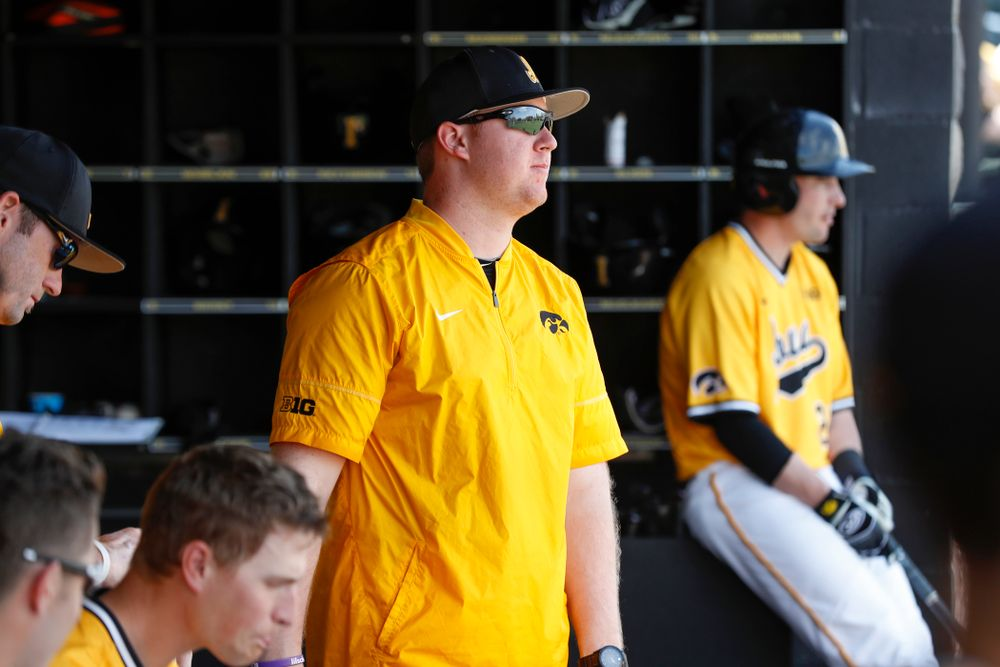 Iowa Hawkeyes graduate assistant Shane Schmidt against the Oklahoma State Cowboys Sunday, May 6, 2018 at Duane Banks Field. (Brian Ray/hawkeyesports.com)