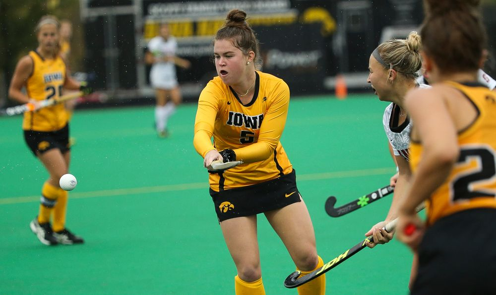 Iowa Hawkeyes midfielder Meghan Conroy (5) tries to corral a pass during a game against Stanford at Grant Field on October 7, 2018. (Tork Mason/hawkeyesports.com)