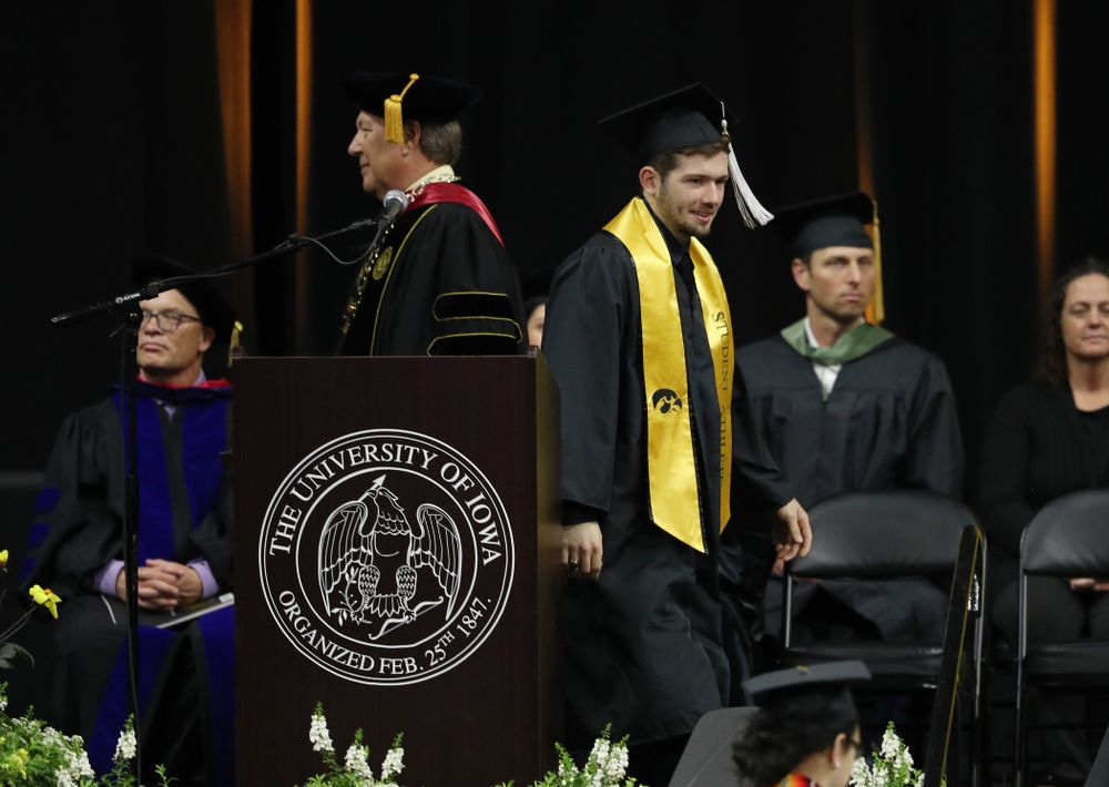 Iowa MenÕs Gymnast Rogelio Vazquez during the College of Liberal Arts and Sciences spring commencement Saturday, May 11, 2019 at Carver-Hawkeye Arena. (Brian Ray/hawkeyesports.com)