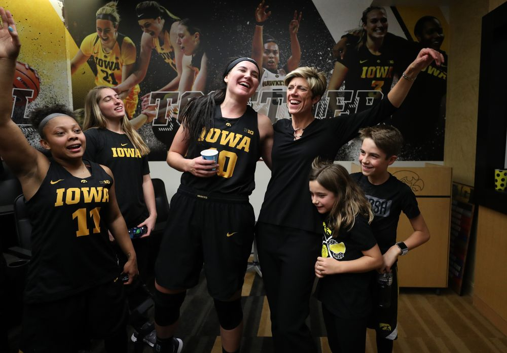 Iowa Hawkeyes forward Megan Gustafson (10) and associate head coach Jan Jensen against the Iowa State Cyclones in the Iowa Corn Cy-Hawk Series Wednesday, December 5, 2018 at Carver-Hawkeye Arena. (Brian Ray/hawkeyesports.com)fudge