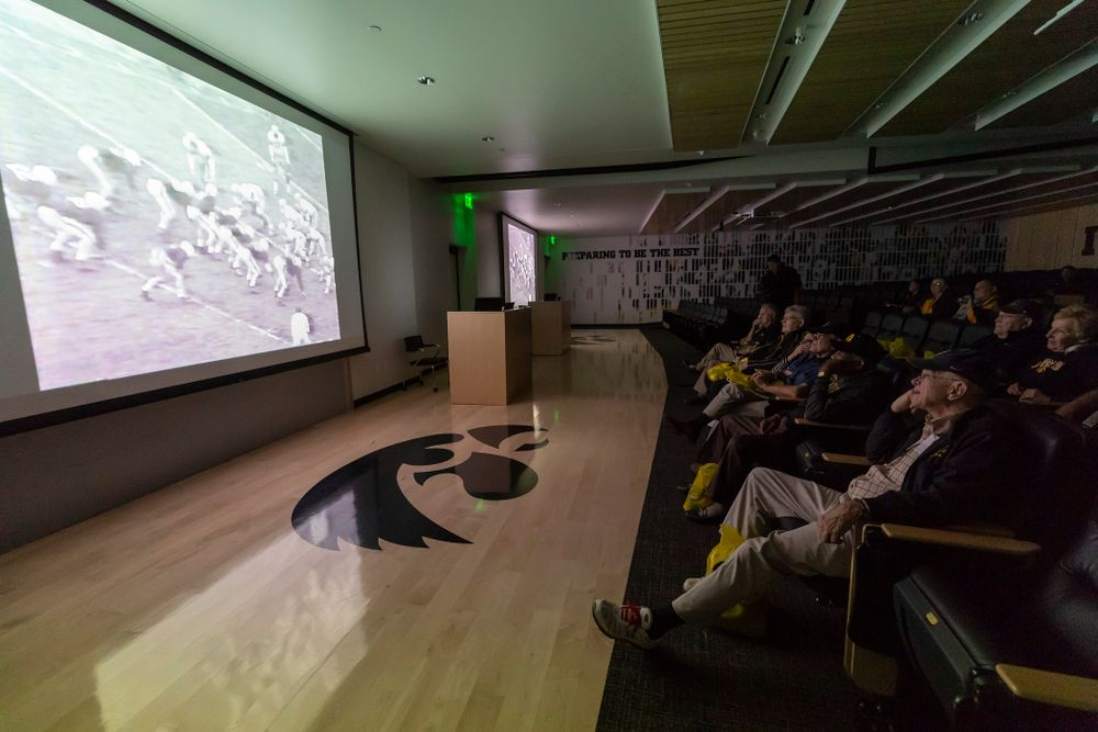 Members of the 1958 National Championship Team watch film from the the 1958 season at the Hansen Football Performance  Center Friday, September 21, 2018. (Brian Ray/hawkeyesports.com)