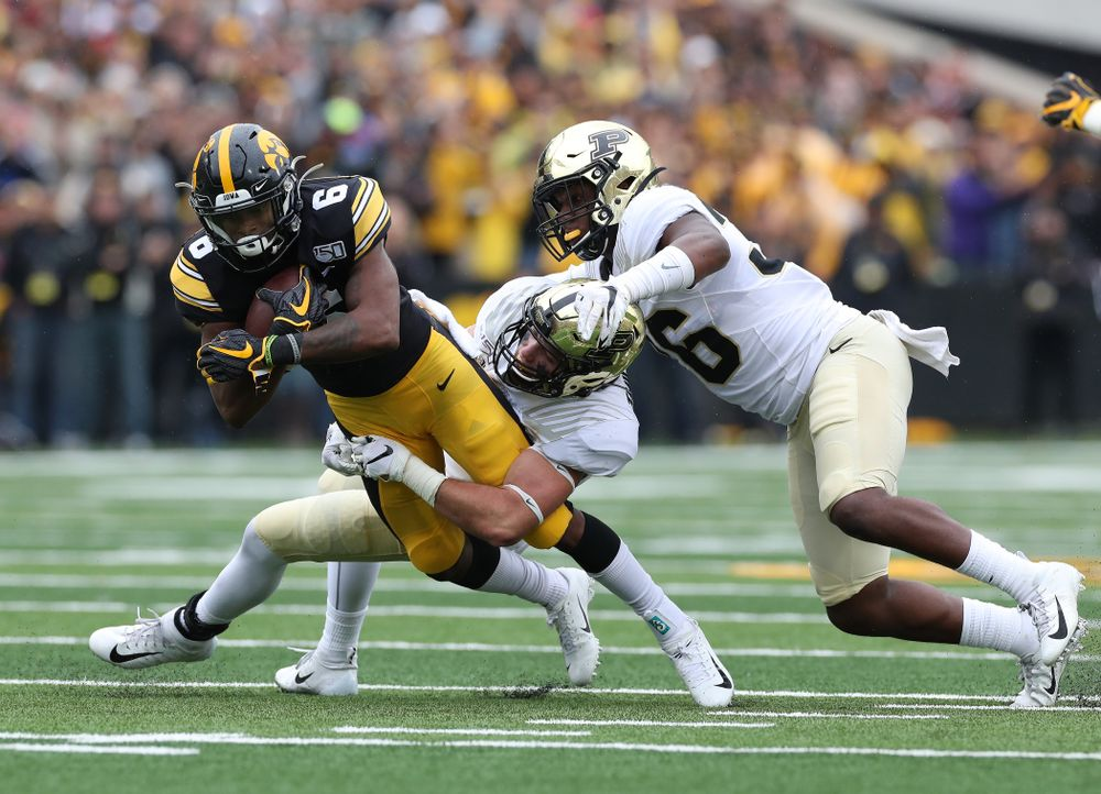 Iowa Hawkeyes wide receiver Ihmir Smith-Marsette (6) against the Purdue Boilermakers Saturday, October 19, 2019 at Kinnick Stadium. (Brian Ray/hawkeyesports.com)