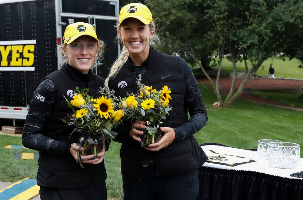 Iowa's Kristin Glesne and Shawn Rennegarbe pose for a photo after the final round of the Diane Thomason Invitational at Finkbine Golf Course on September 30, 2018. (Tork Mason/hawkeyesports.com)
