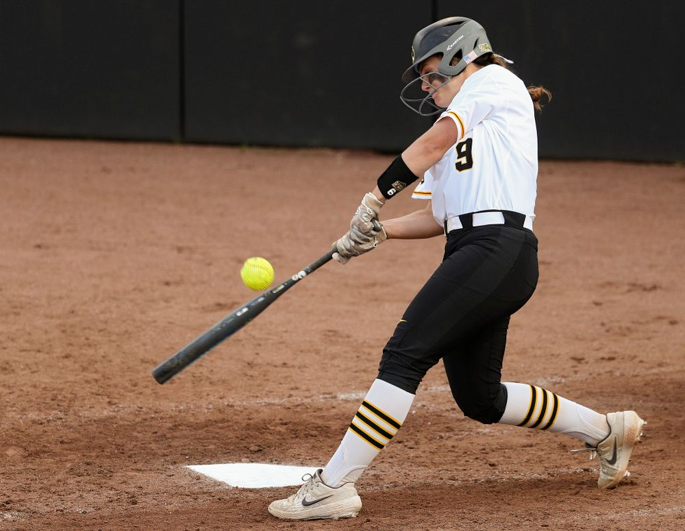 Iowa catcher Abby Lien (9) bats during the sixth inning of their game against Ohio State at Pearl Field in Iowa City on Friday, May. 3, 2019. (Stephen Mally/hawkeyesports.com)