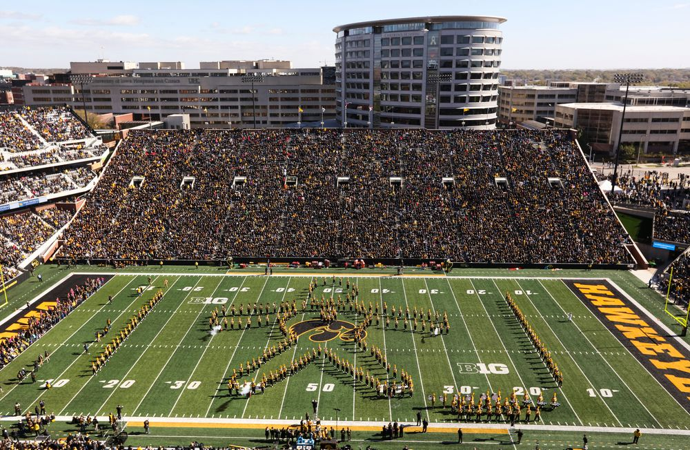 The Iowa Hawkeye Marching Band performs at halftime during a game against Maryland at Kinnick Stadium on October 20, 2018. (Tork Mason/hawkeyesports.com)