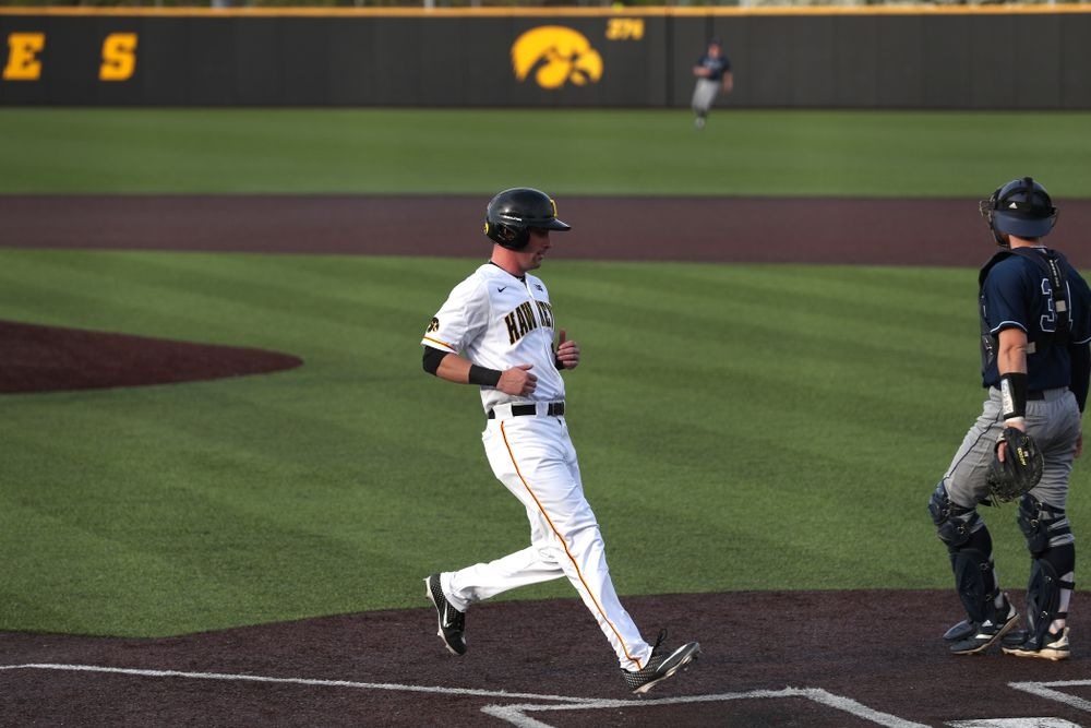 Iowa Hawkeyes Chris Whelan (28) scores during game one against UC Irvine Friday, May 3, 2019 at Duane Banks Field. (Brian Ray/hawkeyesports.com)
