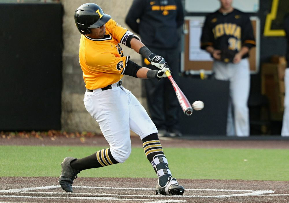 Iowa infielder Matthew Sosa (31) bats during the third inning of the first game of the Black and Gold Fall World Series at Duane Banks Field in Iowa City on Tuesday, Oct 15, 2019. (Stephen Mally/hawkeyesports.com)