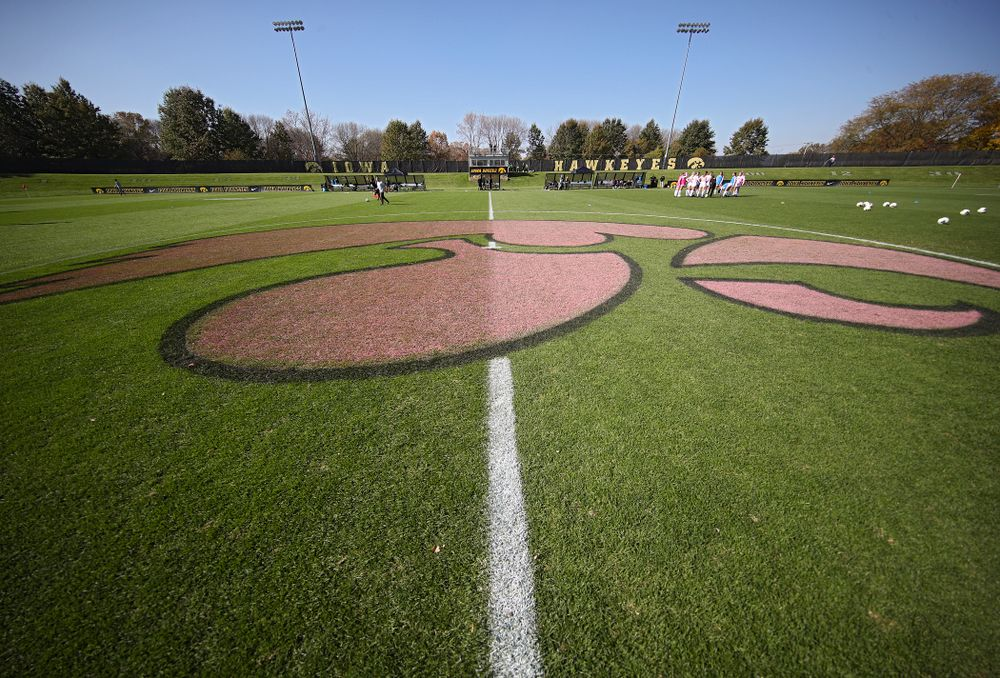 A pink Tigerhawk is painted on the field for the Pink Game match at the Iowa Soccer Complex in Iowa City on Sunday, Oct 27, 2019. (Stephen Mally/hawkeyesports.com)