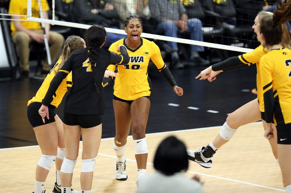 Iowa Hawkeyes outside hitter Griere Hughes (10) against the Rutgers Scarlet Knights Saturday, November 2, 2019 at Carver-Hawkeye Arena. (Brian Ray/hawkeyesports.com)