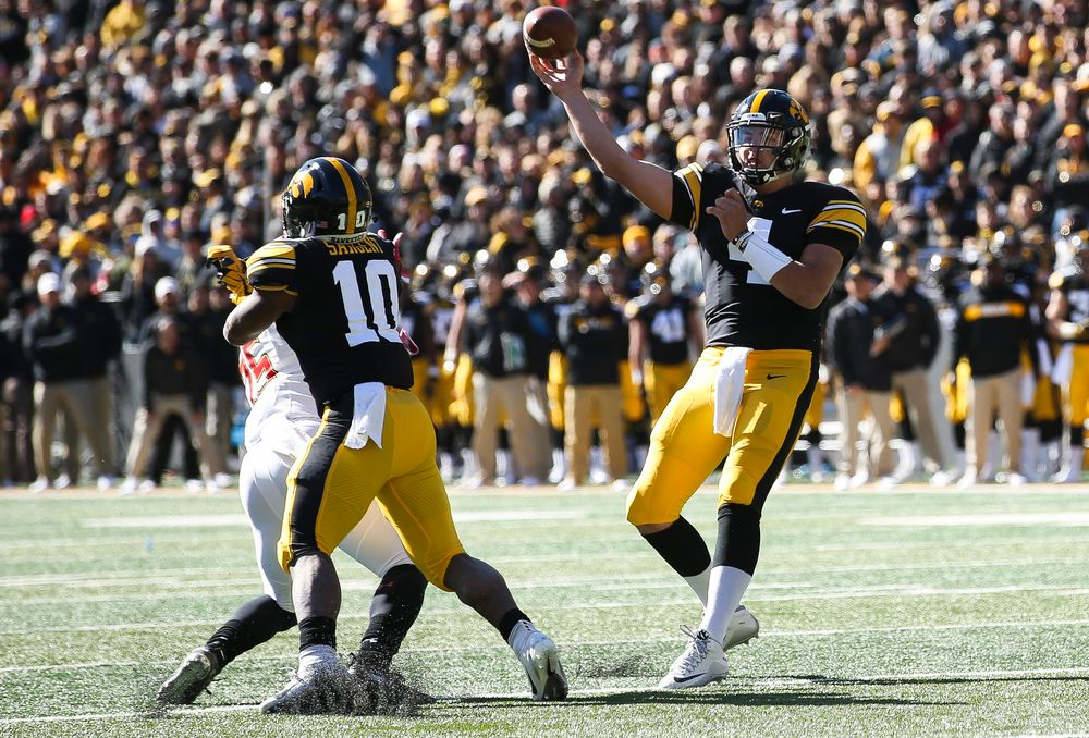 Iowa Hawkeyes quarterback Nate Stanley (4) passes the ball during a game against Maryland at Kinnick Stadium on October 20, 2018. (Tork Mason/hawkeyesports.com)