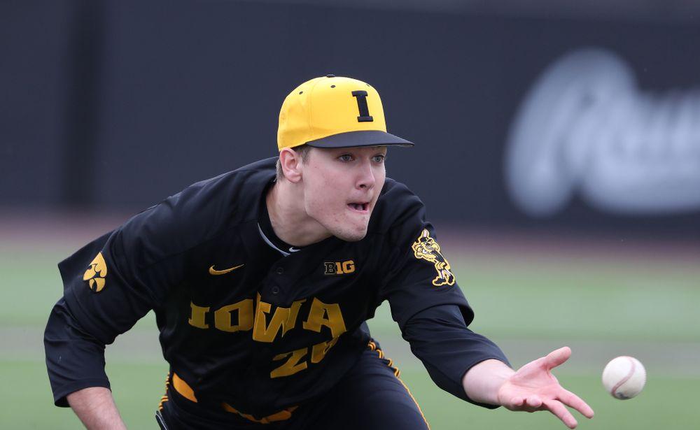Iowa Hawkeyes Adam Ketelsen (26) against Simpson College Tuesday, March 19, 2019 at Duane Banks Field. (Brian Ray/hawkeyesports.com)