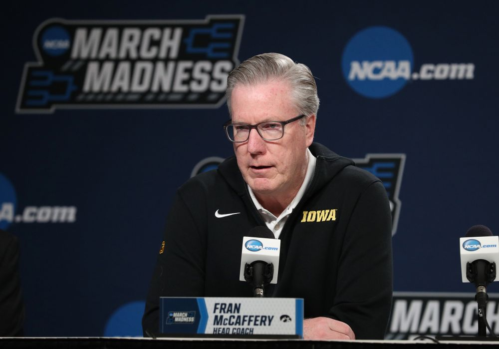 Iowa Hawkeyes head coach Fran McCaffery during press availability and practice before the first round of the 2019 NCAA Men's Basketball Tournament Thursday, March 21, 2019 at Nationwide Arena in Columbus, Ohio. (Brian Ray/hawkeyesports.com)