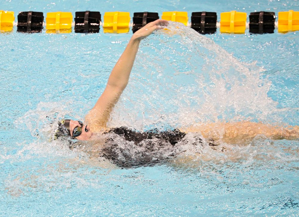 Iowa's Anna Brooker swims the women's 200-yard backstroke event during their meet against Michigan State and Northern Iowa at the Campus Recreation and Wellness Center in Iowa City on Friday, Oct 4, 2019. (Stephen Mally/hawkeyesports.com)