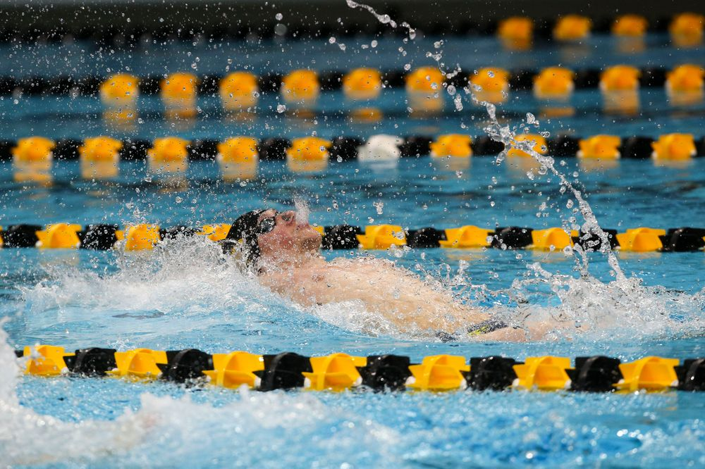 Iowa's John Colin during Iowa swim and dive vs Minnesota on Saturday, October 26, 2019 at the Campus Wellness and Recreation Center. (Lily Smith/hawkeyesports.com)
