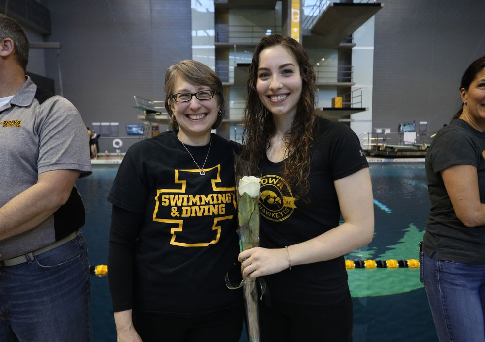 Olivia Cook is introduced during senior day before a double dual against Wisconsin and Northwestern Saturday, January 19, 2019 at the Campus Recreation and Wellness Center. (Brian Ray/hawkeyesports.com)