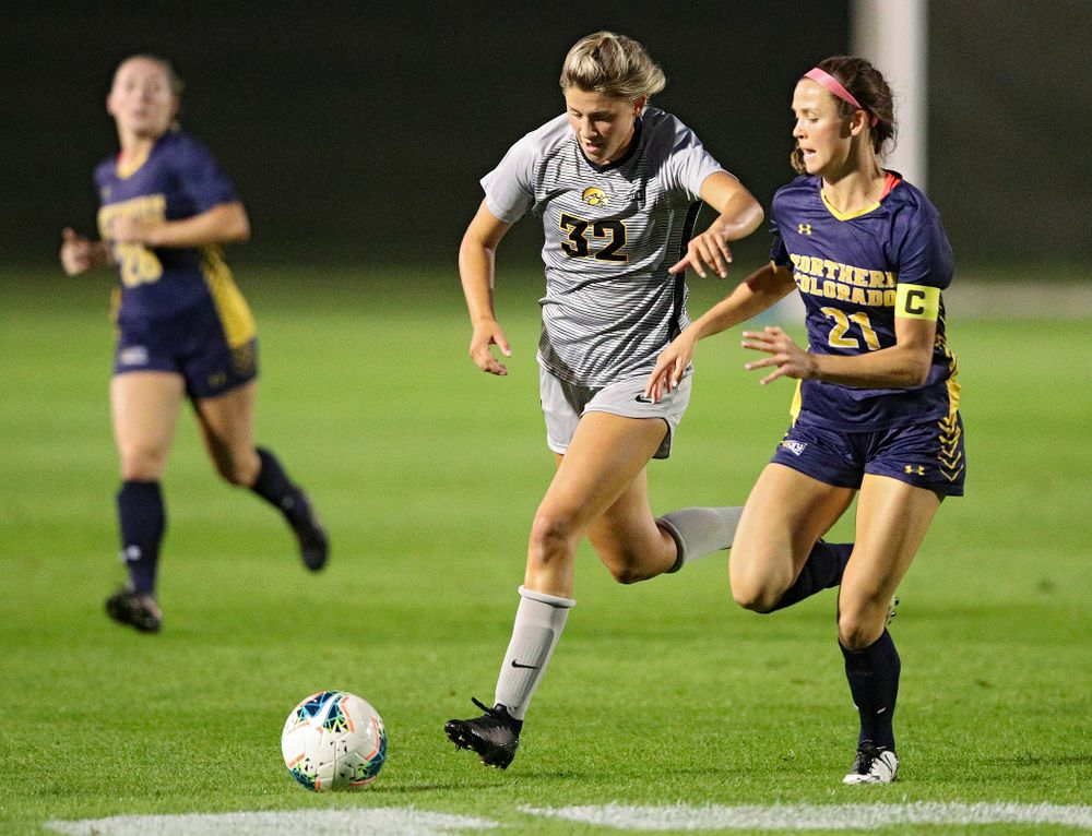 Iowa forward Gianna Gourley (32) moves with the ball during the first half of their match at the Iowa Soccer Complex in Iowa City on Friday, Sep 13, 2019. (Stephen Mally/hawkeyesports.com)