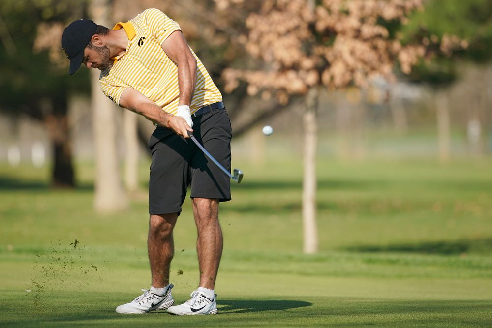 Iowa's Gonzalo Leal hits from the fairway during the third round of the Hawkeye Invitational at Finkbine Golf Course in Iowa City on Sunday, Apr. 21, 2019. (Stephen Mally/hawkeyesports.com)