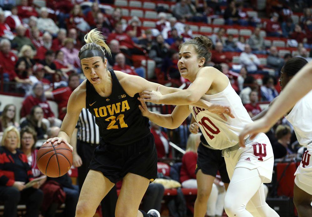 Iowa Hawkeyes forward Hannah Stewart (21) against the Indiana Hoosiers Thursday, February 21, 2019 at Simon Skjodt Assembly Hall. (Brian Ray/hawkeyesports.com)
