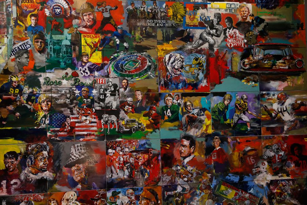 Paintings at the College Football Hall of Fame.