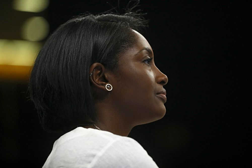 Iowa interim head coach Vicki Brown looks on during the third set of their Big Ten/Pac-12 Challenge match against Colorado at Carver-Hawkeye Arena in Iowa City on Friday, Sep 6, 2019. (Stephen Mally/hawkeyesports.com)