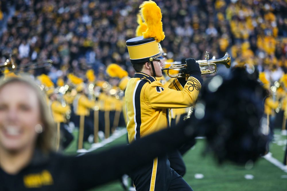 The Hawkeye Marching Band performs during Iowa football vs Penn State on Saturday, October 12, 2019 at Kinnick Stadium. (Lily Smith/hawkeyesports.com)