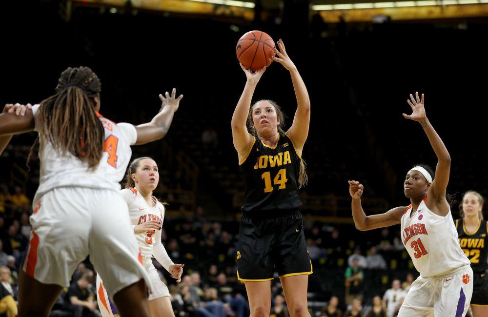 Iowa Hawkeyes forward McKenna Warnock (14) against Clemson Wednesday, December 4, 2019 at Carver-Hawkeye Arena. (Brian Ray/hawkeyesports.com)