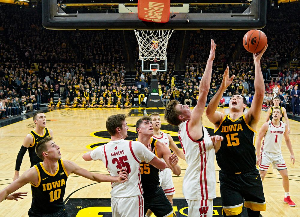Iowa Hawkeyes forward Ryan Kriener (15) puts up a shot during the second half of their game at Carver-Hawkeye Arena in Iowa City on Monday, January 27, 2020. (Stephen Mally/hawkeyesports.com)