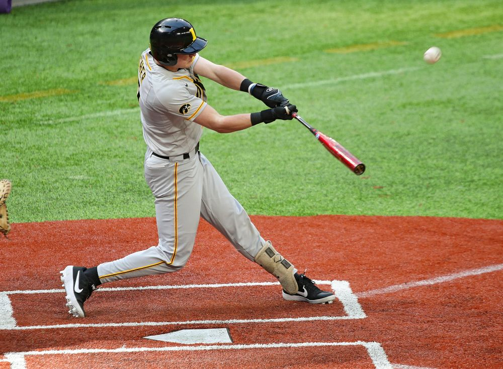 Iowa Hawkeyes infielder Brendan Sher (2) bats during the first inning of their CambriaCollegeClassic game at U.S. Bank Stadium in Minneapolis, Minn. on Friday, February 28, 2020. (Stephen Mally/hawkeyesports.com)