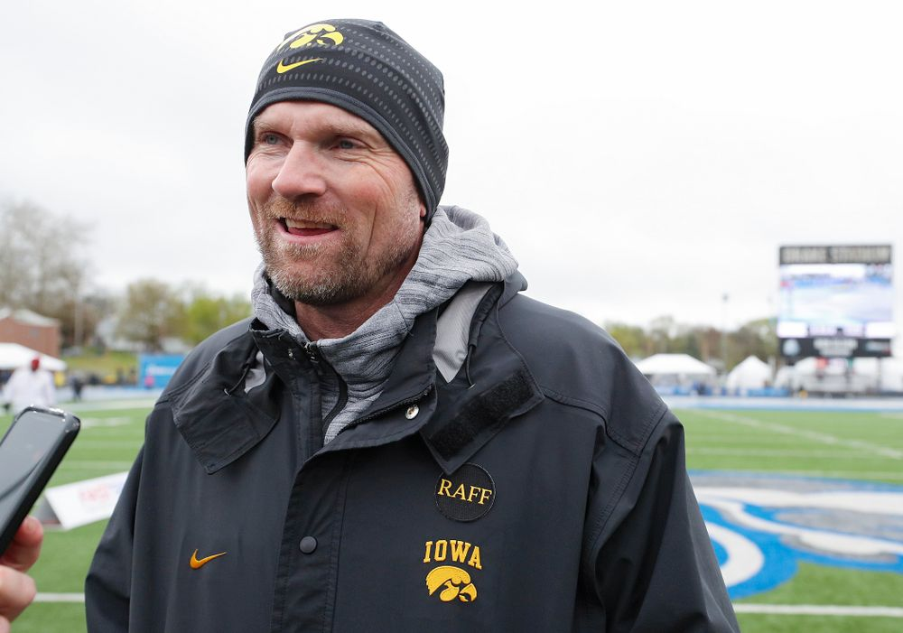 Joey Woody, director of Track and Field, answers questions after the women's team won the Hy-Vee Cup on the third day of the Drake Relays at Drake Stadium in Des Moines on Saturday, Apr. 27, 2019. (Stephen Mally/hawkeyesports.com)