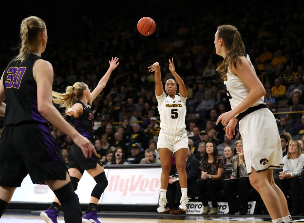 Iowa Hawkeyes guard Alexis Sevillian (5) against the Northern Iowa Panthers in the Hy-Vee Classic Sunday, December 16, 2018 at Carver-Hawkeye Arena. (Brian Ray/hawkeyesports.com)