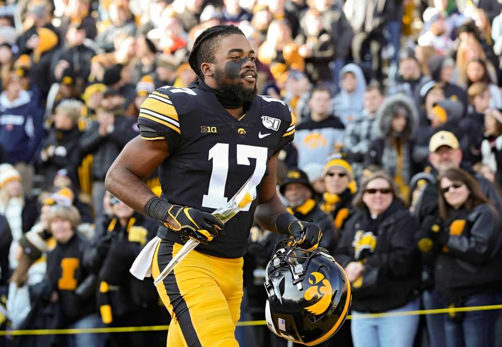 Iowa Hawkeyes defensive back Devonte Young (17) is acknowledged on senior day before their game at Kinnick Stadium in Iowa City on Saturday, Nov 23, 2019. (Stephen Mally/hawkeyesports.com)