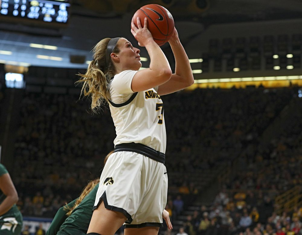 Iowa Hawkeyes guard Makenzie Meyer (3) makes a basket during the second quarter of their game at Carver-Hawkeye Arena in Iowa City on Sunday, January 26, 2020. (Stephen Mally/hawkeyesports.com)