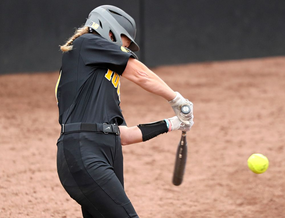 Iowa's Kit Rocco (17) drives in a run with a hit during the sixth inning of their game against Iowa Softball vs Indian Hills Community College at Pearl Field in Iowa City on Sunday, Oct 6, 2019. (Stephen Mally/hawkeyesports.com)