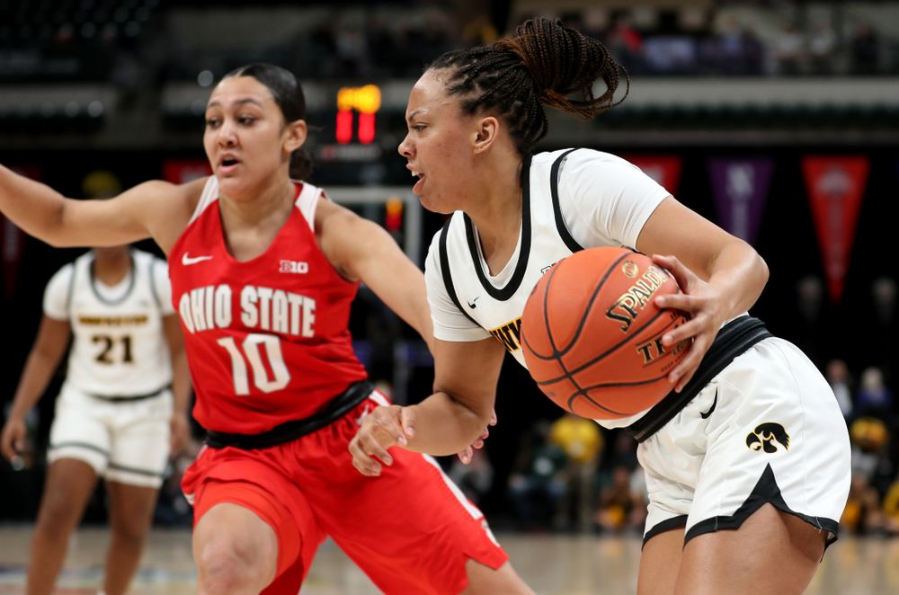 Iowa Hawkeyes guard Alexis Sevillian (5) against Ohio State in the quarterfinals of the Big Ten Basketball Tournament Friday, March 6, 2020 at Bankers Life Fieldhouse in Indianapolis. (Brian Ray/hawkeyesports.com)