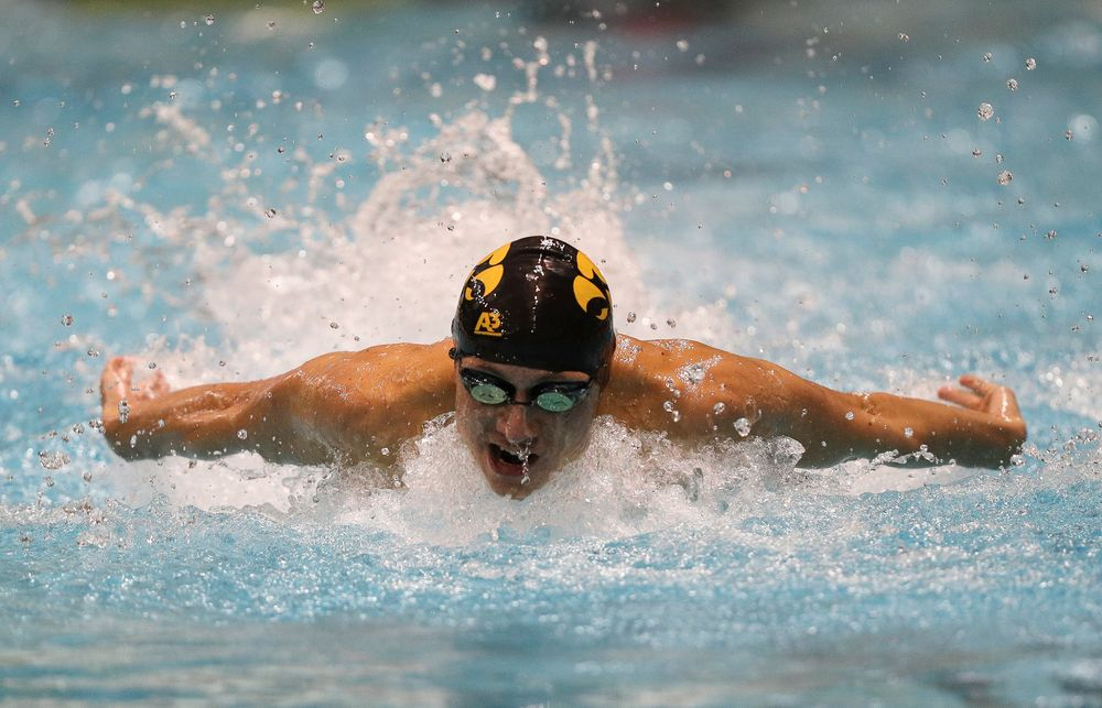 Iowa's Michael Tenney competes in the 100-yard butterfly during the third day of the Hawkeye Invitational at the Campus Recreation and Wellness Center on November 16, 2018. (Tork Mason/hawkeyesports.com)