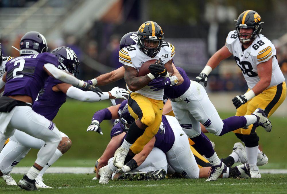 Iowa Hawkeyes running back Mekhi Sargent (10) against the Northwestern Wildcats Saturday, October 26, 2019 at Ryan Field in Evanston, Ill. (Brian Ray/hawkeyesports.com)