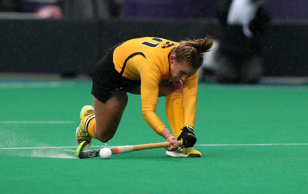 Iowa Hawkeyes Katie Birch (11) scores against Maryland during the championship game of the Big Ten Tournament Sunday, November 4, 2018 at Lakeside Field in Evanston, Ill. (Brian Ray/hawkeyesports.com)