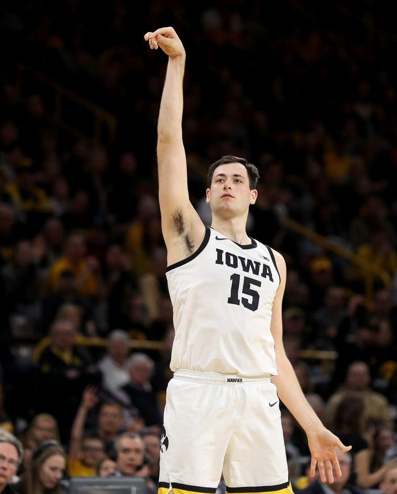 Iowa Hawkeyes forward Ryan Kriener (15) against the Purdue Boilermakers Tuesday, March 3, 2020 at Carver-Hawkeye Arena. (Brian Ray/hawkeyesports.com)