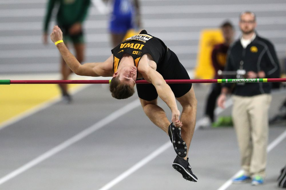 Peyton Haack competes in the high jump during the Black and Gold Premier meet Saturday, January 26, 2019 at the Recreation Building. (Brian Ray/hawkeyesports.com)